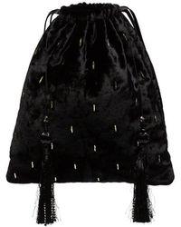 Attico - Black Velvet Tassel Clutch Bag - Lyst