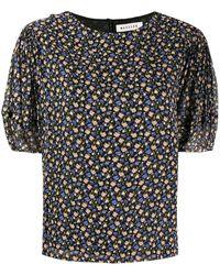 MASSCOB Floral Print Short-sleeved Blouse - Black