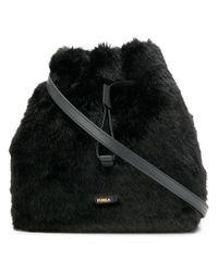Furla - Stacy Faux Fur Bucket Bag - Lyst