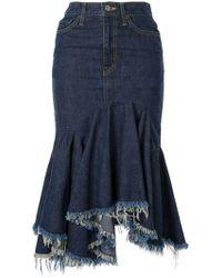 Facetasm - Cut-off Denim Skirt - Lyst