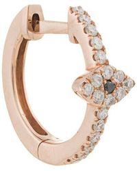 Jacquie Aiche - 14kt Rose Gold Pave Diamond Eye Centre Mini Hoop - Lyst