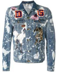 Dolce & Gabbana - Bleached Denim Jacket With Patch Appliqués - Lyst