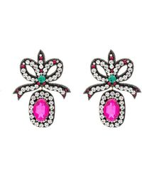 Gucci - Pink Crystal Embellished Bow Earrings - Lyst