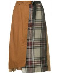Guild Prime - Pleated Contrast Check Skirt - Lyst