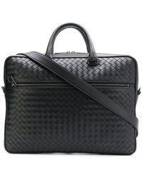 Bottega Veneta - Intrecciato Weave Leather Briefcase - Lyst