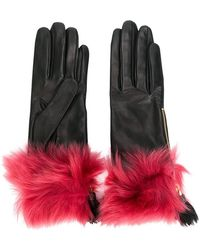 Prada - Fur Trim Gloves - Lyst