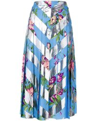 Gucci - Striped Floral Skirt - Lyst