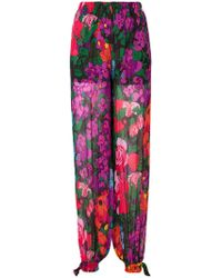 Twin Set - Floral Straight-leg Trousers - Lyst