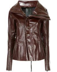 Fagassent - Oversized Collar Biker Jacket - Lyst