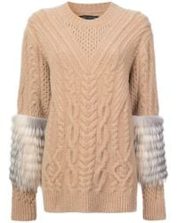 Sally Lapointe - Fur Detail Knitted Sweater - Lyst