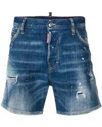 DSquared² - Jeansshorts mit Farbklecks-Print - Lyst