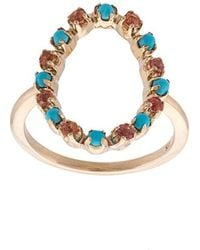 Marlo Laz - 14kt Gold Full Circle Turquoise And Orange Sapphire Ring - Lyst