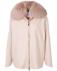 Moncler - Padded Fur Collar Coat - Lyst