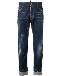 DSquared² - Distressed Rolled-up Jeans - Lyst