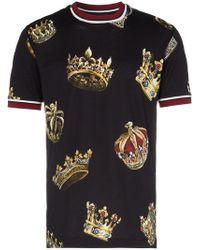 339692e41 Dolce & Gabbana - Short Sleeved Crowns Print T-shirt - Lyst