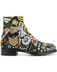 Maison Margiela - Embroidered Patch Ankle Boots - Lyst