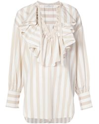 TOME - Ruffled V-neck Blouse - Lyst