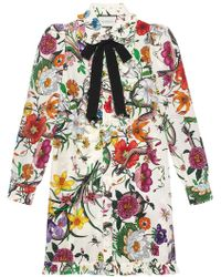 Gucci - Flora Snake Print Long Shirt - Lyst