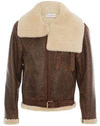 JW Anderson Shearling Collar Aviator Jacket - Brown