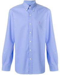 454c8bea Burberry Brit Buttondown Gingham Shirt in Blue for Men - Lyst