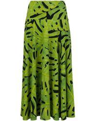 Norma Kamali - Leaf Print Flared Midi Skirt - Lyst