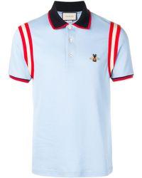 Gucci Poloshirt Met Logo Applicatie - Blauw