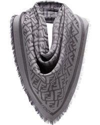 Fendi - Fringed Logo Scarf - Lyst
