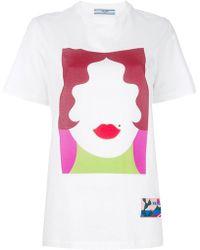 Prada - Face Print T-shirt - Lyst