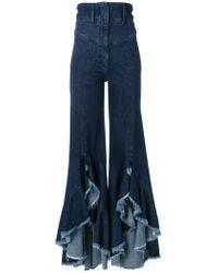 Sara Battaglia - Flared Ruffle Hem Jeans - Lyst