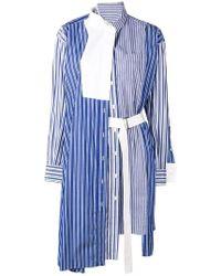 Sacai - Striped Asymmetric Shirt Dress - Lyst