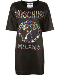 Moschino - Kleid mit aufgesticktem Logo - Lyst