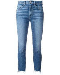 3x1 - Frayed Trim Cropped Jeans - Lyst
