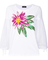 Ki6? Who Are You? - Embroidered Flower Balloon Sleeve Sweater - Lyst