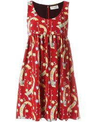 Saint Laurent - Printed Babydoll Dress - Lyst