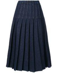 Pringle of Scotland - Pleated Denim Skirt - Lyst