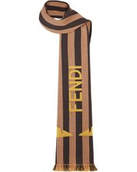 Fendi - Logo Print Striped Scarf - Lyst