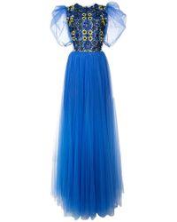 Carolina Herrera - Floral Embroidery Tulle Dress - Lyst