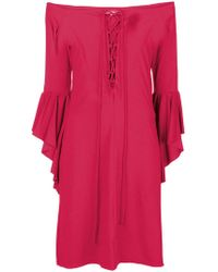 Fisico - Flared Sleeves Midi Dress - Lyst