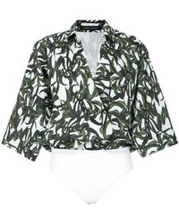 Andrea Marques - Cache Coeur Foliage Print Bodysuit - Lyst