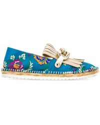Casadei - Floral Embroidered Espadrilles - Lyst