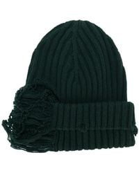 Maison Margiela - Distressed Ribbed Knit Beanie - Lyst