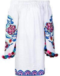 Yuliya Magdych - Off Shoulder Floral Embroidered Dress - Lyst