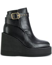 Sacai - Buckled Wedge Platform Boots - Lyst