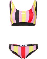 MSGM - Striped Print Bikini - Lyst