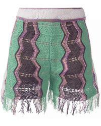 M Missoni - Green Fringed Shorts - Lyst