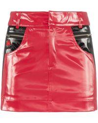 Charm's X Kappa Flame Line Faux Leather Mini Skirt - Red