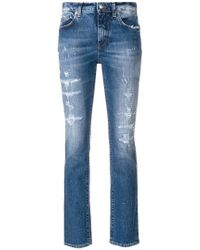 Department 5 - Faded Distressed Cropped Jeans - Lyst