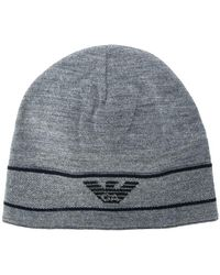 Emporio Armani - Logo Embroidered Beanie Hat - Lyst