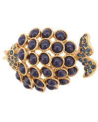 Oscar de la Renta - Cabochon Fish Brooch - Lyst