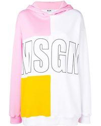 MSGM - Logo Colour-block Hoodie - Lyst